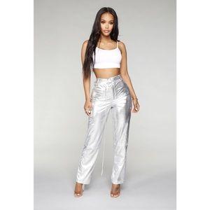 Fashion Nova Silver Journee Metallic Flare Pants